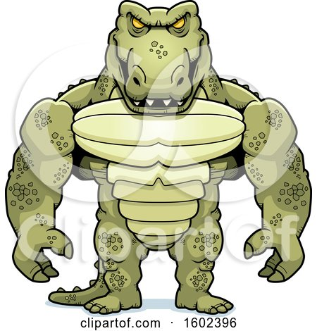 Clipart of a Buff Crocodile Monster - Royalty Free Vector Illustration by Cory Thoman