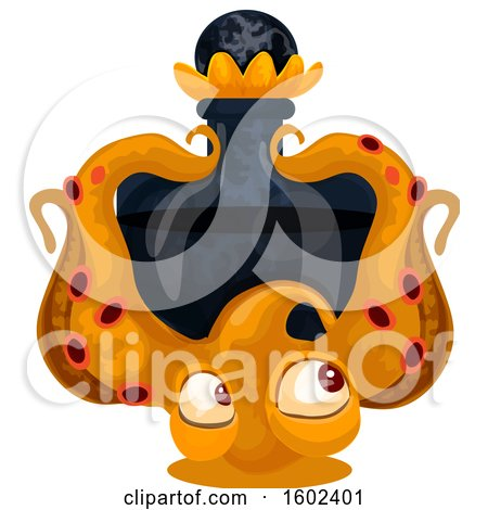 Clipart of a Magical Wizard or Witch Potion Bottle with an Octopus - Royalty Free Vector Illustration by Vector Tradition SM