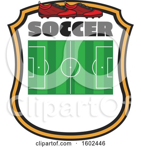 Clipart of a Soccer Field and Cleats in a Shield - Royalty Free Vector Illustration by Vector Tradition SM