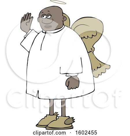 Clipart of a Cartoon Black Male Angel Holding up a Hand to Swear - Royalty Free Vector Illustration by djart