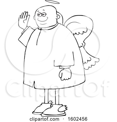 Clipart of a Cartoon Lineart Black Male Angel Holding up a Hand to Swear - Royalty Free Vector Illustration by djart