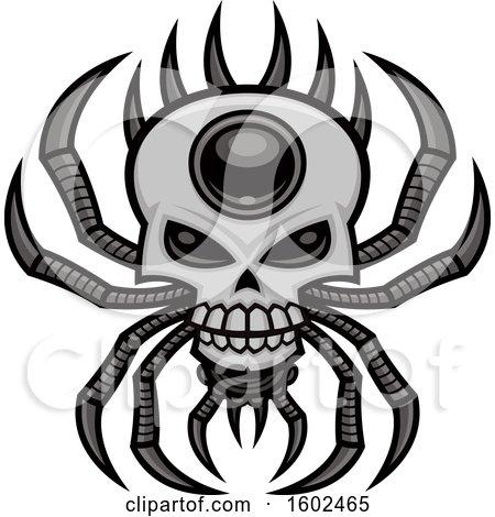 Clipart of a Creepy Skull Spider - Royalty Free Vector Illustration by John Schwegel