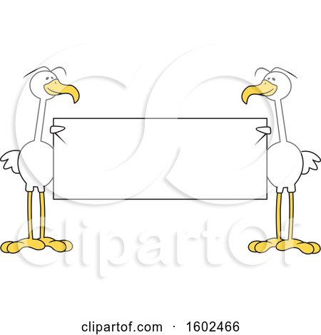 Clipart of Cartoon White Birds Holding a Blank Sign - Royalty Free Vector Illustration by Johnny Sajem