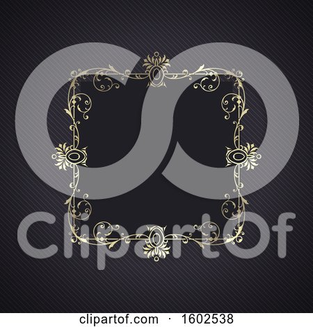 Clipart of a Golden Ornate Frame Design - Royalty Free Vector Illustration by KJ Pargeter