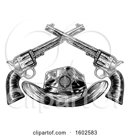 Clipart of a Black and White Cowboy Sheriff Hat with Crossed Guns - Royalty Free Vector Illustration by AtStockIllustration