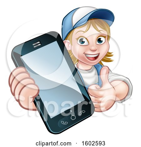 Clipart of a White Female Worker Holding a Cell Phone over a Sign - Royalty Free Vector Illustration by AtStockIllustration