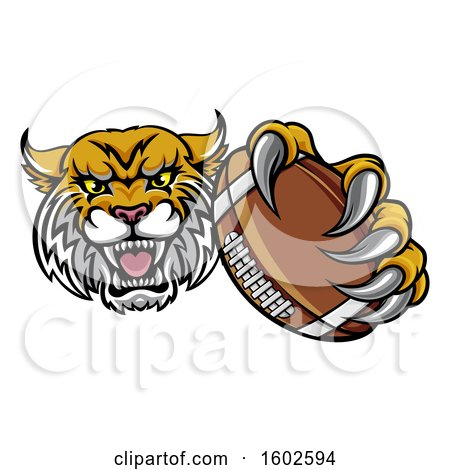 Clipart of a Tough Bobcat Lynx Monster Mascot Holding out an American Football in One Clawed Paw - Royalty Free Vector Illustration by AtStockIllustration