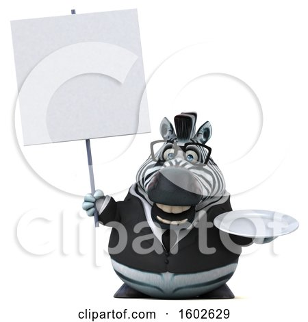 Clipart of a 3d Business Zebra Holding a Plate, on a White Background - Royalty Free Illustration by Julos