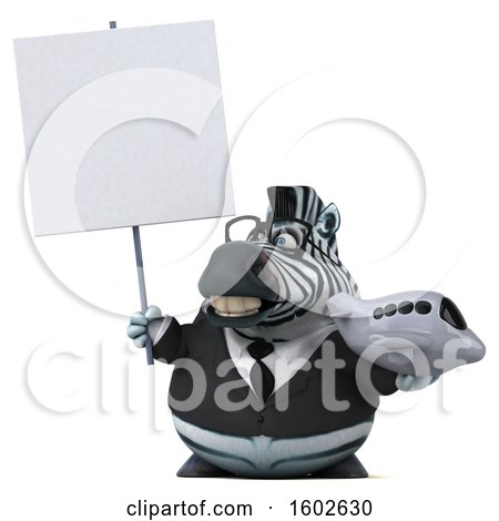 Clipart of a 3d Business Zebra Holding a Plane, on a White Background - Royalty Free Illustration by Julos