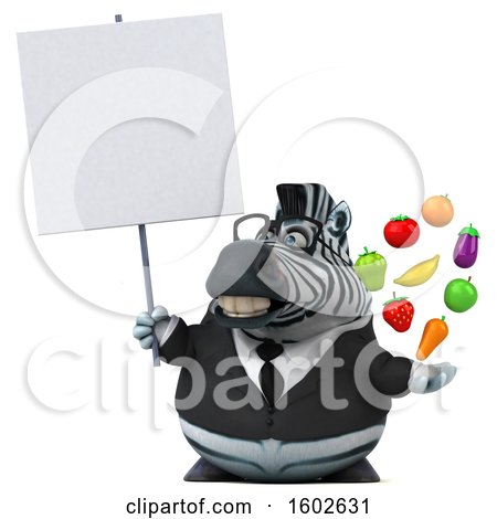 Clipart of a 3d Business Zebra Holding Produce, on a White Background - Royalty Free Illustration by Julos