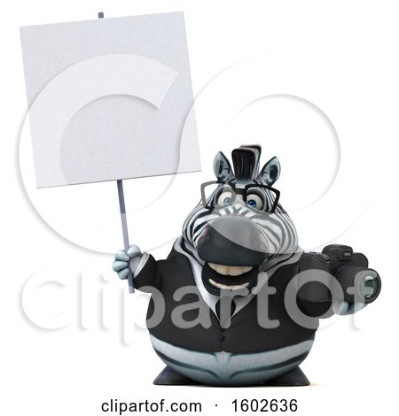 Clipart of a 3d Business Zebra Holding a Camera, on a White Background - Royalty Free Illustration by Julos