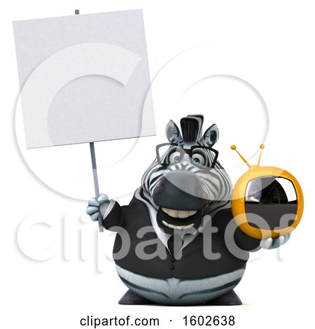 Clipart of a 3d Business Zebra Holding a Tv, on a White Background - Royalty Free Illustration by Julos