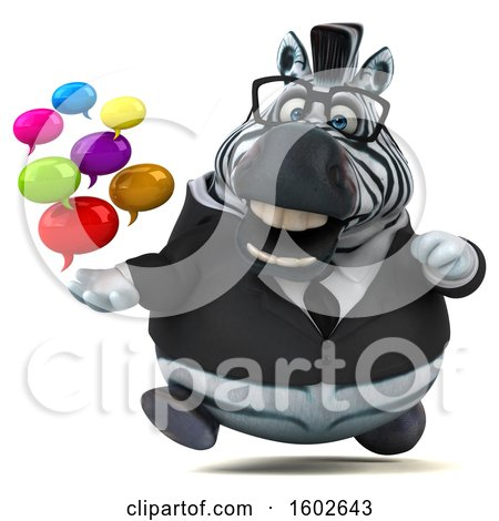 Clipart of a 3d Business Zebra Holding Messages, on a White Background - Royalty Free Illustration by Julos