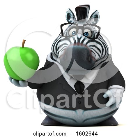 Clipart of a 3d Business Zebra Holding an Apple, on a White Background - Royalty Free Illustration by Julos