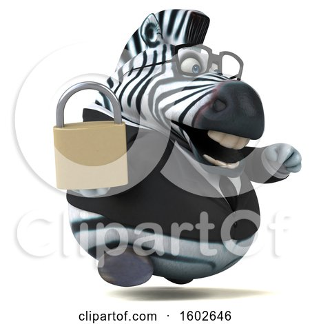 Clipart of a 3d Business Zebra Holding a Padlock, on a White Background - Royalty Free Illustration by Julos