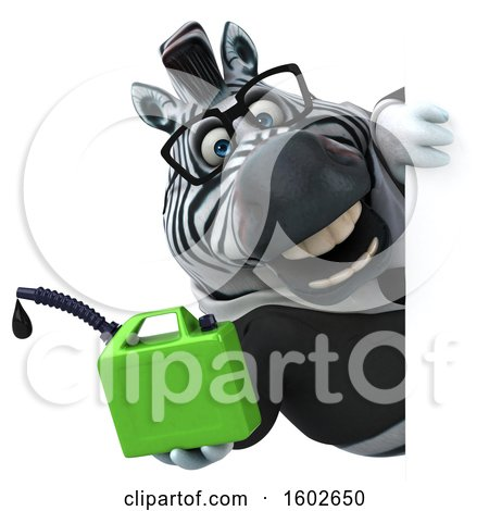 Clipart of a 3d Business Zebra Holding a Gas Can, on a White Background - Royalty Free Illustration by Julos