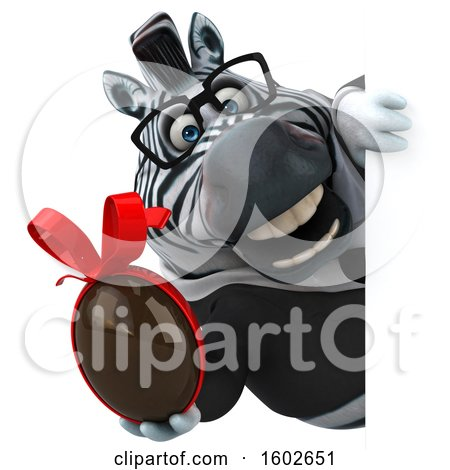 Clipart of a 3d Business Zebra Holding a Chocolate Egg, on a White Background - Royalty Free Illustration by Julos