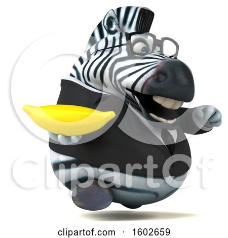 Clipart of a 3d Business Zebra Holding a Banana, on a White Background - Royalty Free Illustration by Julos