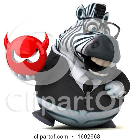 Clipart of a 3d Business Zebra Holding a Devil, on a White Background - Royalty Free Illustration by Julos
