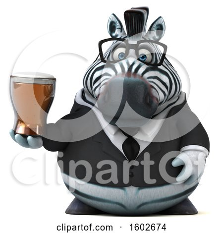 Clipart of a 3d Business Zebra Holding a Beer, on a White Background - Royalty Free Illustration by Julos