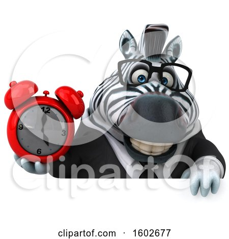 Clipart of a 3d Business Zebra Holding an Alarm Clock, on a White Background - Royalty Free Illustration by Julos