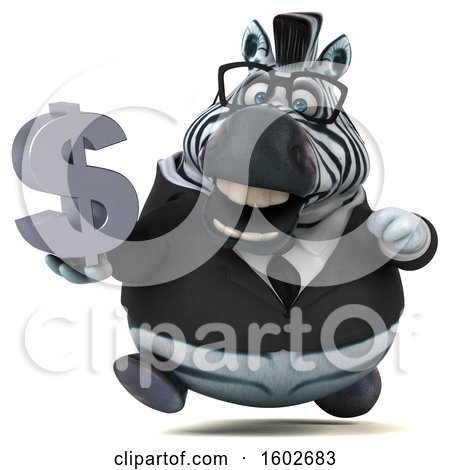 Clipart of a 3d Business Zebra Holding a Dollar Sign, on a White Background - Royalty Free Illustration by Julos