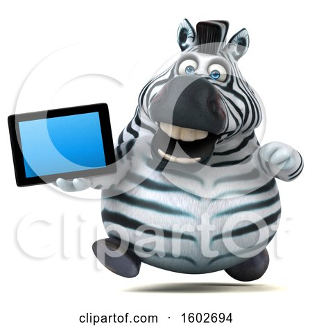 Clipart of a 3d Zebra Holding a Tablet, on a White Background - Royalty Free Illustration by Julos
