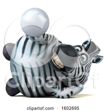 Clipart of a 3d Zebra Holding a Golf Ball, on a White Background - Royalty Free Illustration by Julos