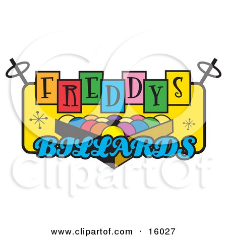 Rack Of Pool Balls On A Billiards Sign Clipart Illustration by Andy Nortnik