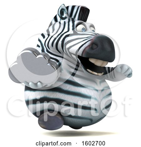 Clipart of a 3d Zebra Holding a Cloud, on a White Background - Royalty Free Illustration by Julos