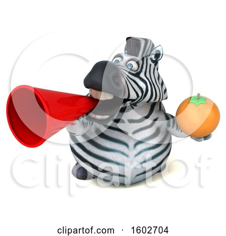 Clipart of a 3d Zebra Holding an Orange, on a White Background - Royalty Free Illustration by Julos