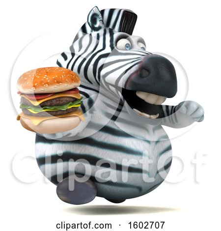 Clipart of a 3d Zebra Holding a Burger, on a White Background - Royalty Free Illustration by Julos