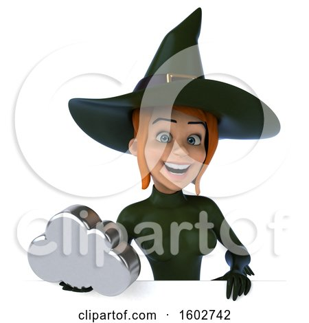 Clipart of a 3d Sexy Green Witch Holding a Cloud, on a White Background - Royalty Free Illustration by Julos
