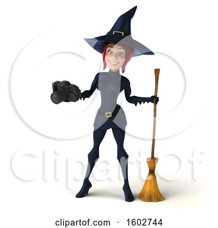 Clipart of a 3d Sexy Blue Witch Holding a Camera, on a White Background - Royalty Free Illustration by Julos