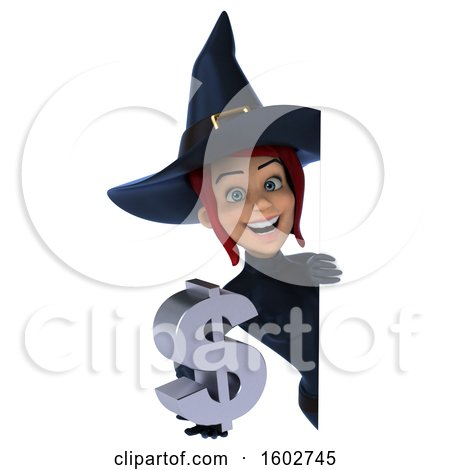 Clipart of a 3d Sexy Blue Witch Holding a Dollar Sign, on a White Background - Royalty Free Illustration by Julos
