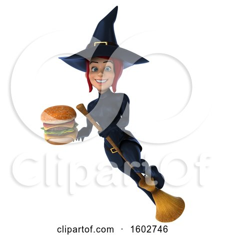 Clipart of a 3d Sexy Blue Witch Holding a Burger, on a White Background - Royalty Free Illustration by Julos