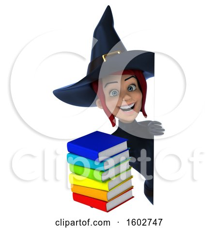 Clipart of a 3d Sexy Blue Witch Holding Books, on a White Background - Royalty Free Illustration by Julos