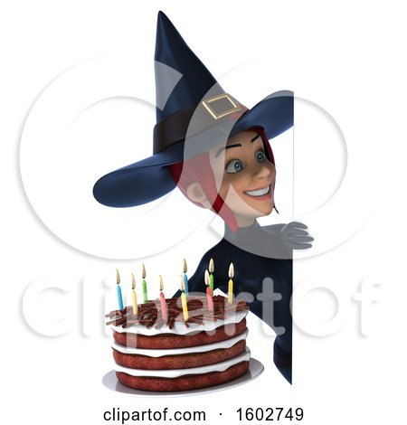 Clipart of a 3d Sexy Blue Witch Holding a Birthday Cake, on a White Background - Royalty Free Illustration by Julos