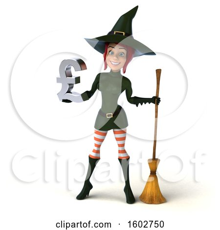 Clipart of a 3d Sexy Green Witch Holding a Lira, on a White Background - Royalty Free Illustration by Julos