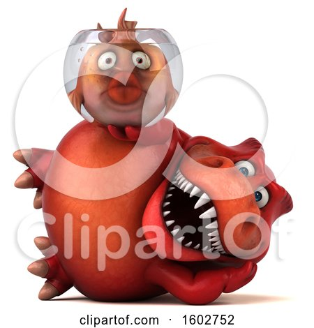 Clipart of a 3d Red T Rex Dinosaur Holding a Fish Bowl, on a White Background - Royalty Free Illustration by Julos