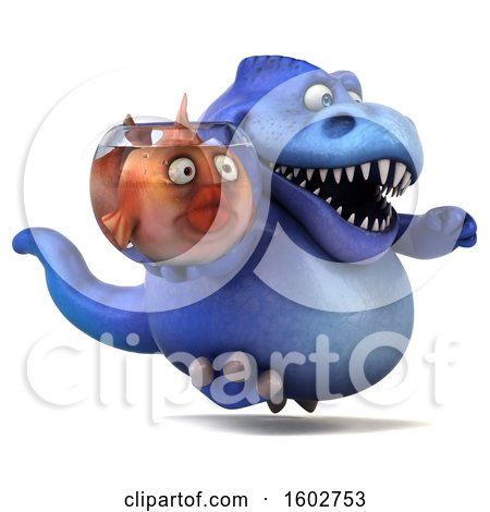 Clipart of a 3d Blue T Rex Dinosaur Holding a Fish Bowl, on a White Background - Royalty Free Illustration by Julos