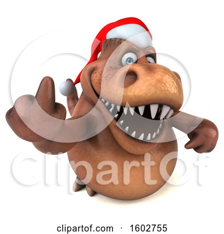 Clipart of a 3d Brown Christmas T Rex Dinosaur Holding up a Middle Finger, on a White Background - Royalty Free Illustration by Julos