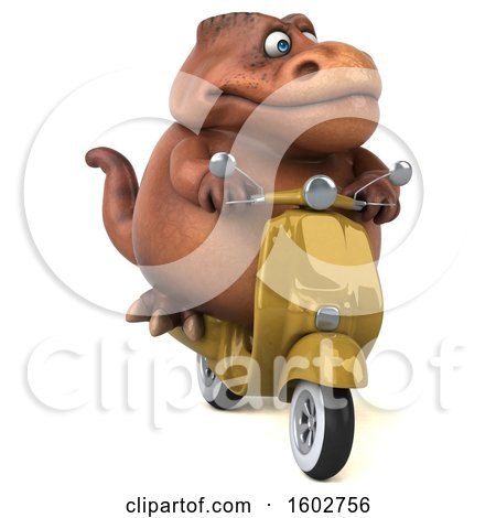 Clipart of a 3d Brown T Rex Dinosaur Riding a Scooter, on a White Background - Royalty Free Illustration by Julos