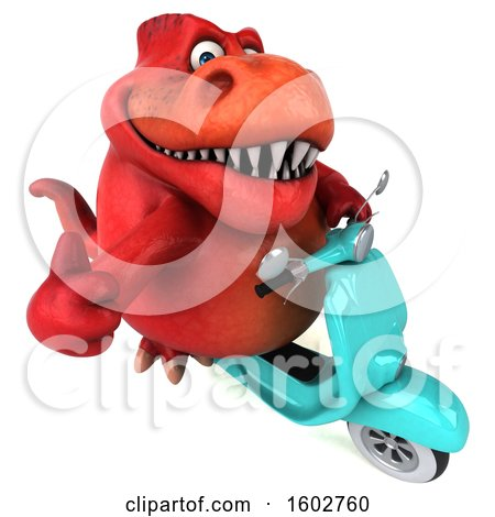 Clipart of a 3d Red T Rex Dinosaur Riding a Scooter, on a White Background - Royalty Free Illustration by Julos