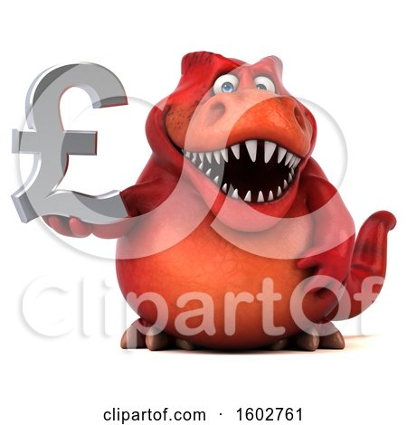 Clipart of a 3d Red T Rex Dinosaur Holding a Lira, on a White Background - Royalty Free Illustration by Julos
