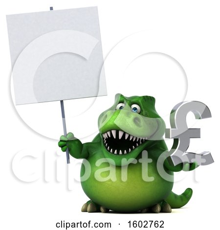 Clipart of a 3d Green T Rex Dinosaur Holding a Lira, on a White Background - Royalty Free Illustration by Julos