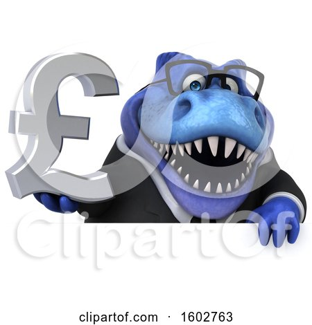 Clipart of a 3d Blue Business T Rex Dinosaur Holding a Lira, on a White Background - Royalty Free Illustration by Julos