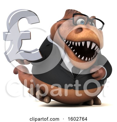 Clipart of a 3d Brown Business T Rex Dinosaur Holding a Lira, on a White Background - Royalty Free Illustration by Julos