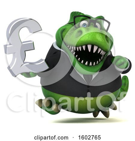 Clipart of a 3d Green Business T Rex Dinosaur Holding a Lira, on a White Background - Royalty Free Illustration by Julos