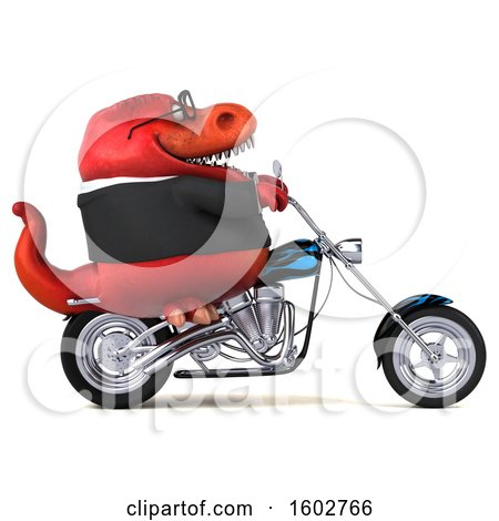 Clipart of a 3d Red Business T Rex Dinosaur Biker Riding a Chopper Motorcycle, on a White Background - Royalty Free Illustration by Julos